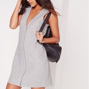 Missguided gray ribbed v neck zip up tank dress